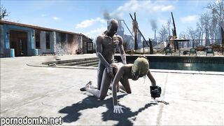 Живой мертвец трахает блондинку у бассейна в FallOut 3